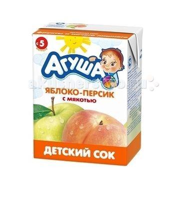 Агуша Сок детский с мякотью без сахара Яблоко-персик 200 мл