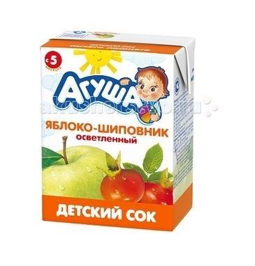 Агуша Сок детский осветленный без сахара Яблоко и шиповник 200 мл