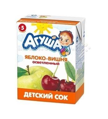 Агуша Сок детский осветленный без сахара Яблоко-вишня 200 мл
