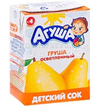 Агуша Сок детский осветленный без сахара Груша 200 мл