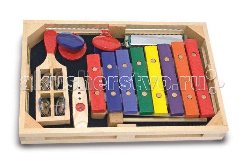 Музыкальная игрушка Melissa &amp; Doug Набор музыкальных инструментов 7 элементовНабор музыкальных инструментов 7 элементовMelissa & Doug Набор музыкальных инструментов 7 элементов - играя с таким набором, Ваш малыш будет не только весело проводить время, но и активно развиваться. К тому же этот набор обязательно привьет ребенку любовь к музыке.   Благодаря этому набору, Ваш малыш сможет развить музыкальный слух.   Музыкальные инструменты уложены в аккуратный и удобный деревянный ящичек.<br>