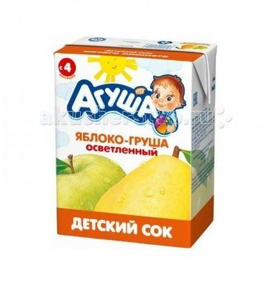 Агуша Сок детский осветленный без сахара Яблоко-Груша 200 мл