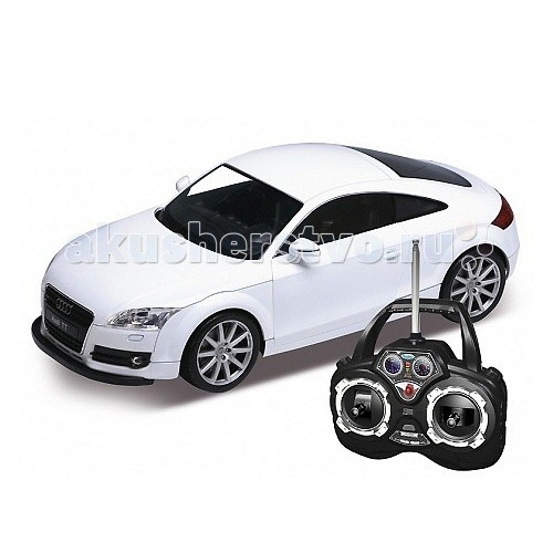 Welly Радиоуправляемая модель машины 1:12 Audi TTРадиоуправляемая модель машины 1:12 Audi TTРадиоуправляемая модель машины 1:12 Audi TT  Функции: Движение вперед - назад, вправо- влево. При движении загорается свет передних и задних фар. С пульта управления открываются двери. Кузов машины из ударопрочного пластика.   Радиус действия пульта управления до 30 м.   Питание:  6 АА батареек в машину 4 АА в пульт управления (в комплект не входят).<br>