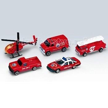 Welly Набор Пожарная команда 5 шт.Набор Пожарная команда 5 шт.Набор Пожарная команда 5 шт.  Игровой набор Пожарная команда 5 шт.: пикап, вертолет, фургон, легковая и пожарная машины.<br>
