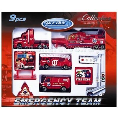 Welly Набор Служба спасения - пожарная команда 9 шт.Набор Служба спасения - пожарная команда 9 шт.Набор Служба спасения - пожарная команда 9 шт.  Размер машин: 8 см<br>