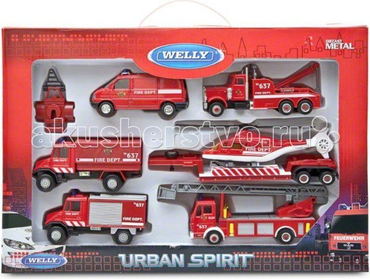 Welly Набор машин Пожарная служба 6 шт.Набор машин Пожарная служба 6 шт.Набор машин Пожарная служба 6 шт.  Размер машин: 10 - 29 см<br>