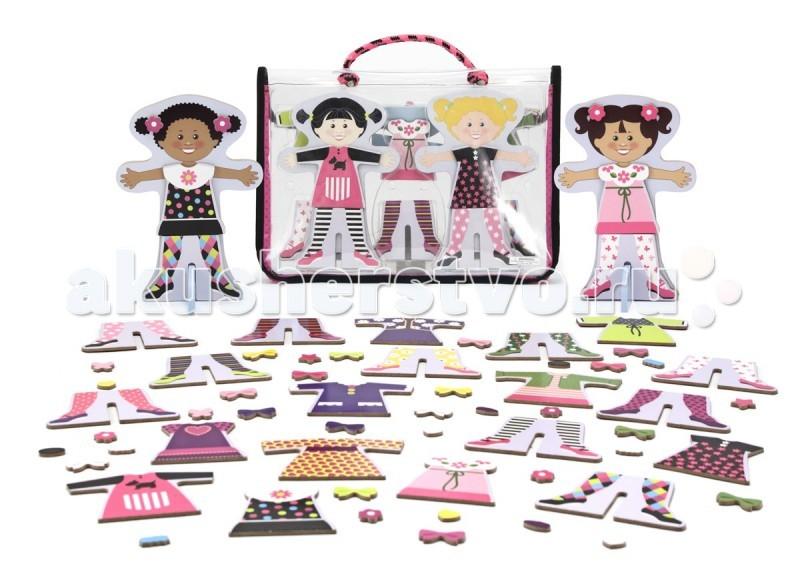 Деревянная игрушка Melissa &amp; Doug Магнитные игры - Верх и низМагнитные игры - Верх и низMelissa & Doug Магнитные игры - Верх и низ - увлекательная игра для девочек!  В комплекте две куклы различная одежда для них которая крепится к куклам с помощью магнитов. Малышка должен крепить детальки с одеждой на блоки с куклами, создавая каждый раз новые вариации нарядов.  Каждая игрушка Melissa & Doug мастерски выполнена из материалов высочайшего качества с использованием твердых лиственных пород, плотной и прочной термоусадочной пленки. Игрушки яркие, красочные, графика и рисунки отлично проработаны, причем в большинстве случаев вручную. Красивая реалистично выполненная графика призвана стимулировать ментальное развитие ребенка, учит распознавать объекты в характерной для них среде.<br>