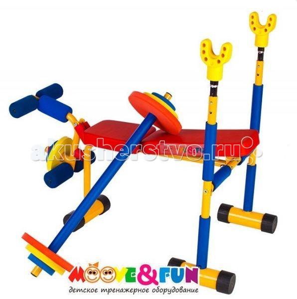 Moove&amp;Fun Тренажер подставка под штангу (скамья для жима)Тренажер подставка под штангу (скамья для жима)Тренажер Moove&Fun подставка под штангу (скамья для жима) идеально подходит для проведения тренировок детей в игровой форме, а яркая красочная расцветка привлечет внимание детей и сделает спортивные занятия веселыми и увлекательными.   Может применяться как дома, так и в любых детских учреждениях, комнатах отдыха.   Особенности:    Универсальная детская скамья для работы со штангой с нагружаемым керлом для ног;  Штанга входит в комплект. Штанга представляет собой гриф и полиуретановые диски. Это делает тренировки более безопасными;  Вылет стоек имеет две регулировки по высоте;  Имеет прочную устойчивую конструкцию;   Длина: 87 Ширина: 80 Высота: 75 Максимальный вес ребенка, кг: 50<br>