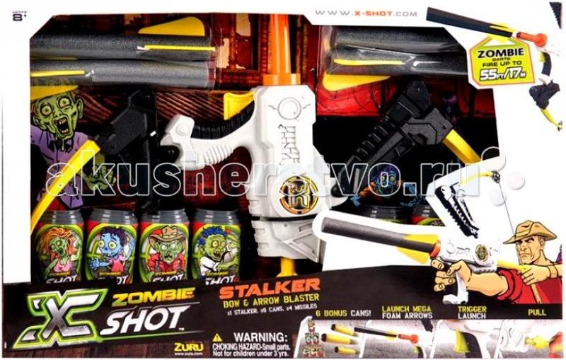 X-Shot Лук Зомби 6 банок, 4 стрелоракетыЛук Зомби 6 банок, 4 стрелоракетыXshot Лук Зомби 6 банок, 4 стрелоракеты.  Суперсовременный лук Зомби X-Shot - прекрасный выбор для мальчишек старше 8 лет. Эта увлекательная игрушка не оставит равнодушными ни детей, ни взрослых. В комплект входят шесть пластиковых банок-мишеней с изображением зомби, четыре стрелы, изготовленных из вспененной резины. Для того чтобы сделать первый выстрел необходимо зарядить лук, оттянуть тетиву и отпустить. Стрела полетит также если нажать на курок. Дальность полета - до 10 метров. Стрелы безопасны для людей, не оставляют синяков и ушибов даже при попадании с близкого расстояния.  Лук изготовлен из высококачественной АВС пластмассы, которая обладает повышенной ударопрочностью, эластичностью и долговечностью. Оружие имеет обтекаемый корпус, его эргономичные детали с легкостью располагаются в руке и позволяют осуществлять точные выстрелы. Комплектация:  лук  6 банок-мишеней  4 стрелы. Дальность стрельбы: до 10 м.<br>