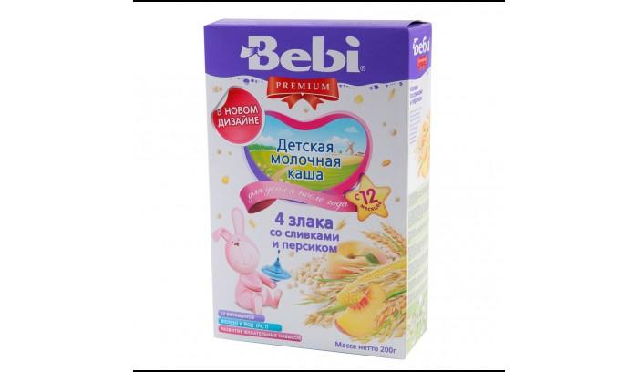 Bebi Молочная каша Premium из 4 злаков со сливками и персиком с 12 мес. 200 г