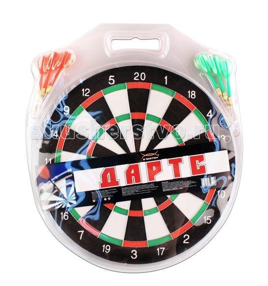 X-Match Дартс 12 дюймовДартс 12 дюймовX-match Дартс 12 дюймов - одна из популярных игр, в которую можно играть как на улице, так и в помещении, одному, вдвоем или соревнуясь командами.  Особенности: с одной стороны сделана разноцветная разметка с баллами от 1 до 20 с другой стороны красно-белая разметка с баллами от 1 до 10 внутри круга есть металлический кручок разноцветные дротики  В комплекте:  мишень дротики - 6 шт Размеры: 12 (30 см)<br>