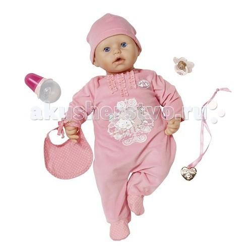 Zapf Creation Пупс Baby Annabell с мимикой 46 см 794-036Пупс Baby Annabell с мимикой 46 см 794-036Baby Annabell Кукла с мимикой 46 см  Кукла Бэби Аннабель – один из самых больших пупсов от Zapf Creation. Она ведет себя, как настоящий младенец!  Куклу можно кормить из специальной бутылочки, которая идет в комплекте. Когда она сосет соску или пьет, ее ротик двигается и она причмокивает. В бутылочку можно налить настоящую воду!  Малышка Аннабель, как и любой младенец, непредсказуема. Чаще всего, она радуется и лепечет, но когда ей не хватает внимания, может и расплакаться! Функция плача возможна только после того, как куколка выпьет минимум четверть воды из своей бутылочки. Если Аннабель, после того, как ее напоили, заплакала, просто погладьте ее по спине. Когда она кричит и капризничает, нужно просто бережно погладить ее лобик или щечки.  Если положить малышку бэби Анабель и провести по ее лобику, она начнет зевать. Можно спеть ей колыбельную песенку, и тогда она уснет.  Когда с куклой долго не играют, она автоматически уснет, а речевые и двигательные функции отключатся. Чтобы куколка проснулась, просто дайте ей пустышку. Но в каком настроении проснется малышка, предугадать невозможно!  Кукла работает от 4-х пальчиковых батареек. Чтобы ее включить, нужно перевести рычаг на спине в положение «On».  В комплекте с куколкой: Специальная бутылочка Пустышка Теплое одеялко.  Куклу можно поить из бутылочки. После этого она может плакать настоящими слезами, или отрыгнуть Чтобы кукла начала зевать, положите ее на спину и проведите по лобику Если спеть ей колыбельную, она уснет. Если с куклой долго не играть, она засыпает автоматически – разбудить ее можно, дав пустышку. Когда куколка сосет пустышку или бутылочку, у нее двигается ротик и она причмокивает. Глазки Аннабель открываются и закрываются.  Работает по принципу случайных чисел – реакция на действия непредсказуема.  Внимание! Поить Аннабель можно только из бутылочки в комплекте!  Тело куколки мягконабивное  Высота – 46 см