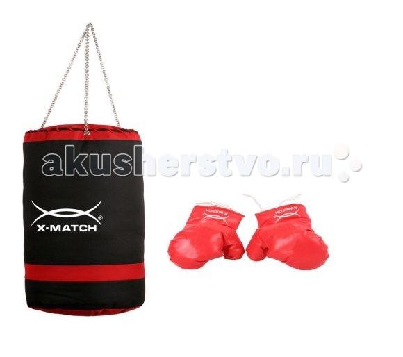 X-Match Набор для бокса 87715Набор для бокса 87715X-match Набор для бокса обязательно понравится малышу! Ведь надев перчатки, он почувствует себя настоящим спортсменом.   Особенности: Материал - полиуретан. Высота груши - 40 см. Диаметр - 20 см.<br>