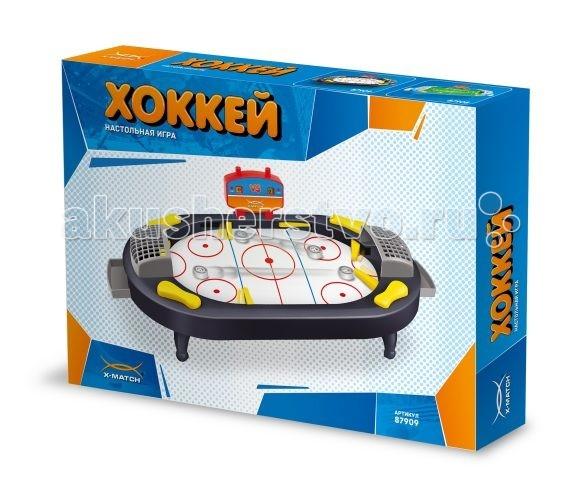 X-Match Настольная игра Хоккей - X-MatchНастольная игра ХоккейX-match Настольная игра Хоккей - это игра для всех, кто любит хоккей! Теперь можно провести хоккейный матч не выходя из дома!   Особенности: Чтобы начать игру, установите на игровое поле табло и ворота. Ведите счет игры, нажимая на кнопки счетчика очков. Для удара по шайбе и для отражения ударов противника нажимайте на кнопки на боковых панелях. Играть не только увлекательно, но и полезно! Игра помогает развить координацию движений, скорость реакции и внимание.  В комплекте: игровое поле ножки - 4 шт. игровое табло - 1 шт. ворота - 2 шт. шайба - 2 шт. съемный лоток - 2 шт.<br>