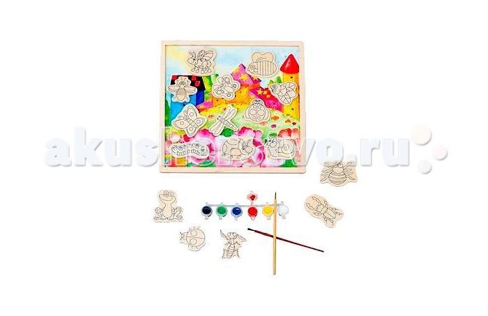 Mapacha Магниты-раскраски НасекомыеМагниты-раскраски НасекомыеMapacha Магниты-раскраски Насекомые эта раскраска необычная.   Особенности: В наборе есть цветная дощечка-фон, магнитные элементы с изображениями насекомых, кисточки и краски.  Для начала надо раскрасить насекомых, а затем можно играть с ними на дощечке, создавать свой мультфильм.  Раскрашивать элементы можно не один раз, так как они выполнены из дерева. Постоянно менять цвета крылышек божьей коровки, бабочки, стрекозы и других насекомых - это так здорово!  Игрушка развивает творческие способности, фантазию, воображение.  С данной раскраской ребенок выучит основные цвета, названия насекомых.  В комплекте: Магнитная дощечка-фон Деревянные элементы с изображениями животных Африки Краски (6 цветов) Кисточки  Размеры: 30х1х30 см<br>