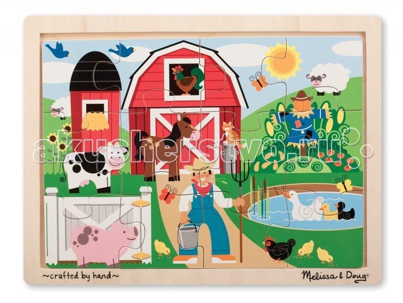 Деревянная игрушка Melissa &amp; Doug Пазл ФермаПазл ФермаДеревянная игрушка Melissa & Doug Пазл Ферма - состоит из 12 элементов и предназначен для самых маленьких детишек.  Благодаря этому пазлу, Ваш малыш сможет составить красивую картинку и познакомиться с жизнью животных и людей на ферме.  Жизнь на ферме так интересна! Тут корова,пугало,пруд с уточками и даже веселый фермер.   Пазлы развивают мелкую моторику, способствуют развитию воображения, усидчивости.  Картинки пазла вставляются в удобную деревянную рамку.<br>