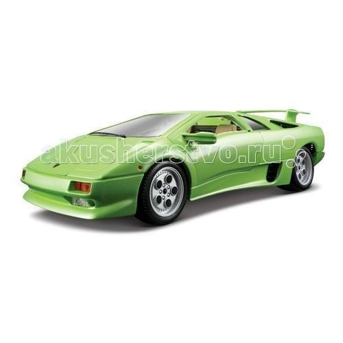 Bburago 1:18 Автомобиль Gold Lamborghini Diablo1:18 Автомобиль Gold Lamborghini DiabloАвтомобиль Gold Lamborghini Diablo - от компании Bburago является одной из моделей серии Gold Collezione.   Она выполнена в масштабе 1:18 и воспроизводит все детали внешнего облика реального автомобиля данной марки.   Корпус модели выполнен из металла, машинка представлена в салатовом металлик и желтом цвете, имеет открывающиеся багажник, капот, двери. При повороте руля поворачиваются колеса автомобиля.   Рекомендуется для детей в возрасте от 3-х лет.<br>