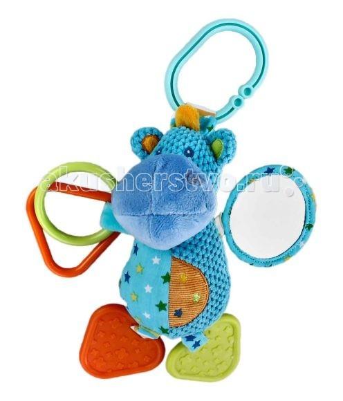 Подвесная игрушка Жирафики Подвеска Бегемотик с погремушкой