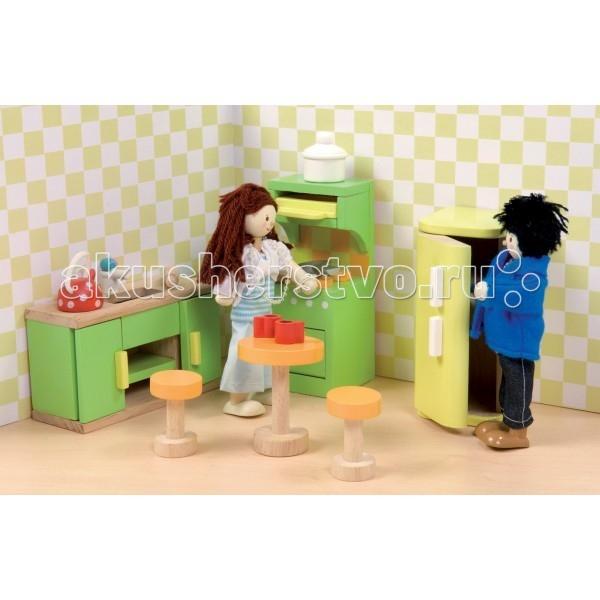 LeToyVan Сахарная слива КухняСахарная слива КухняLeToyVan Сахарная слива - Кухня.  Комнатный гарнитур деревянной кукольной мебели, окрашенной в очень красивые тона сиреневого, розового, голубого и желто-оранжевого для кукольных домиков и кукол - Сахарная слива Кухня: большой кухонный стол с мойкой и сантехникой кухонная плита с духовкой барный столик и 2 стульчика холодильник кухонная посуда чайник, кастрюля, сковорода, 2 чашки, скалка.  Дверцы и ящички в кукольной мебели свободно открываются и закрываются, выдвигаются так же, как у настоящей мебели. Набор кукольной мебели сделан из дерева и ткани. Размер предметов специально продуман для кукольных домиков и кукольной семьи - 1:12.  Кукольная мебель Сахарная слива Кухня набор кукольной мебели Le Toy Van для кукольных домиков сделан из натуральных материалов окрашен безопасными для детей красками высококачественная обработка деталей и поверхностей специальный размер предметов для кукольных домиков упакован в подарочную коробку.<br>