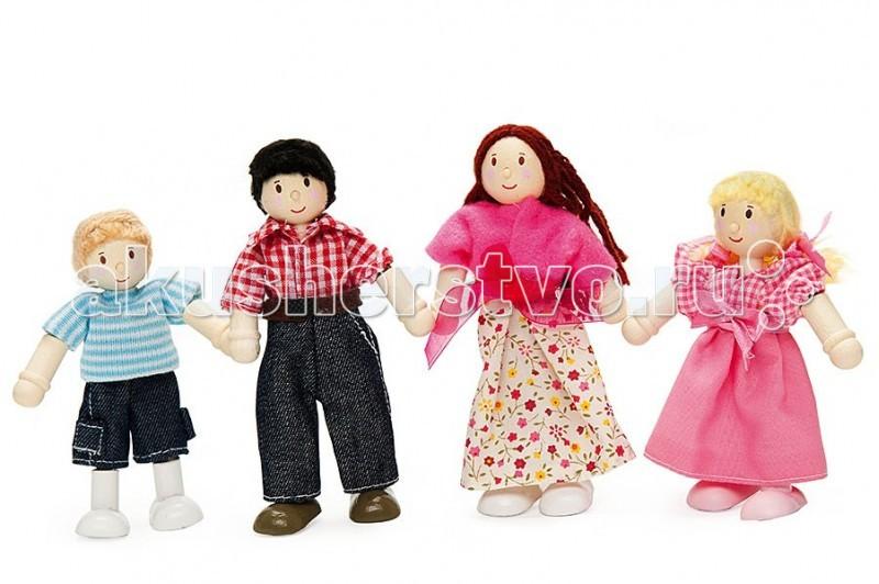 LeToyVan Набор Моя семьяНабор Моя семьяLeToyVan Набор кукол Моя семья.  Набор очень красивых деревянных кукол Моя Семья с волосами из натуральной шерсти. Набор состоит из 4 куколок: мама, папа, девочка и мальчик. Куклы сделаны из дерева и ткани. Ручки и ножки составные, гнутся. Одежда из ткани. Куклы упакованы вместе в подарочную коробку с прозрачным окном.  Прекрасно сочетаются в детское игре с кукольным домиком, кукольной мебелью и др. игрушками для кукол. Очень сильно нравятся детям, т.к. удобны и приятны для детской игры, естественны, красиво одеты и похожи на настоящую семью.<br>