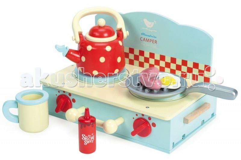 Деревянная игрушка LeToyVan Игровой набор Плита с посудой и едой