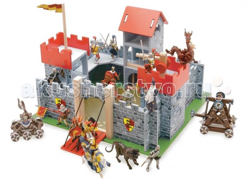 LeToyVan Замок КамелотЗамок КамелотLeToyVan Замок Камелот.  Рыцарский замок игрушка для фигурок Камелот, производства английской компании Le Toy Van.Яркий, интересный и красивый рыцарский замок Камелот - будет очень хорошим подарком для любого мальчишки. С его помощью рыцари, волшебники, драконы и другие сказочные персонажи легко обживут эту волшебную страну. А в перерывах между играми все герои сражений смогут мирно отдыхать за высокими и неприступными стенами.  Выполненный из дерева игровой набор очень интересен и увлекателен, так как состоит из множества аксессуаров для разнообразных игр. У замка три красные башни: тюремная башня, флаговая башня с флагом, башня с лебедкой. Внутреннее пространство замка имеет галереи на стенах.Ворота открываются, образуя перекидной мост, на них изображен рыцарский герб. Так же два герба изображены с двух сторон от входа. Рядом с мостом есть потайная дверца для побега.  Стены замка разукрашены под камень, внутренний двор так же замощен камнем, а вокруг растет трава.Замок легко собирается. Набор упакован в красивую подарочную коробку.Яркие цвета, высококачественная обработка деталей, глянцевая поверхность игрушек, высокие стандарты безопасности и качества.Прекрасно сочетается с деревянными куклами Budkins или фигурками фирмы Papo. Продаются отдельно.<br>