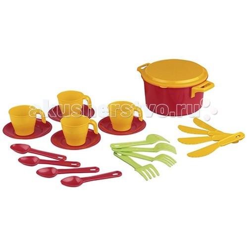 Альтернатива (Башпласт) Набор детской посуды Хозяйка 2225МНабор детской посуды Хозяйка 2225МНабор детской посуды Хозяйка 2225М  Набор на четыре персоны. Состоит из кастрюльки, 4 кружек на блюдцах, вилок, ножичков и ложек.  Подойдет для игр вашей малышки дома или на улице.  Набор выполнен из безопасных материалов, допустимых в изготовлении товаров для детей.  Материал пластик.<br>