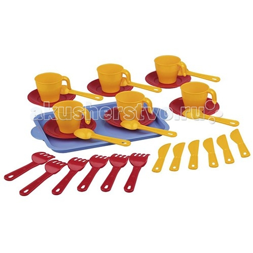 Альтернатива (Башпласт) Набор детской посуды Хозяйка 2224МНабор детской посуды Хозяйка 2224МНабор детской посуды Хозяйка 2224М  Набор на шесть персон. Состоит из подноса, 6 кружек на блюдцах, вилок, ножичков и ложек.   Подойдет для игр вашей малышки дома или на улице.  Набор выполнен из безопасных материалов, допустимых в изготовлении товаров для детей.  Материал пластик.<br>