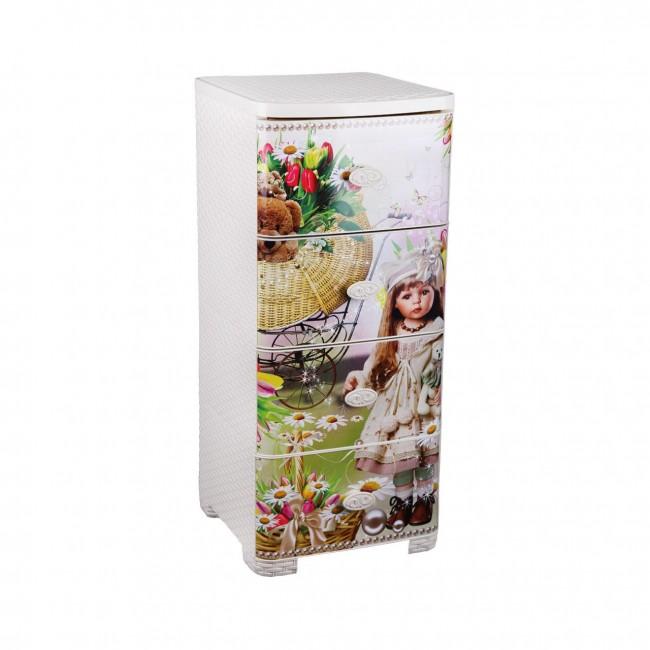 Купить Ящики для игрушек Комод плетёный 4-х секционный  Ящики для игрушек Альтернатива (Башпласт)
