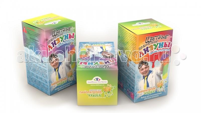 Инновации для детей Набор Юный химик. Цветные лизуныНабор Юный химик. Цветные лизуныНабор «Юного химика» «Цветные полимерные лизуны» - это возможность своими руками создать забавную пластичную слизь, которая появится прямо на ваших глазах как результат зрелищного химического эксперимента.   Для того, чтобы получить «лизунов», нужно лишь правильно смешать входящие в набор химические компоненты. Получившаяся слазь приятна на ощупь, очень пластична, хорошо растягивается.   Этот химический эксперимент наглядно демонстрирует базовые свойства полимеров. С получившимся лизуном можно играть и забавляться.   Все составляющие набора безопасны для детского здоровья.  Комплект: полимерный раствор, закрепитель слизи, красители, цветная подробная инструкция, ёмкость для смешивания жидкостей, мерная ложка, пипетка, защитные перчатки.<br>