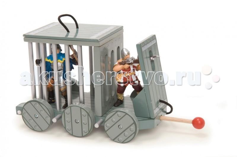 LeToyVan Клетка узникаКлетка узникаLeToyVan Клетка узника.  Деревянная игрушка Клетка узника или тюрьма сделана в средневековом стиле и предназначена для перевозки пленных.Тюрьма передвигается на 6 колесах, имеет съемную крышу, защитный щит спереди для военных действий и оборонительный таран сзади. Игрушка прекрасно дополняет игру с наборами Рыцарский замок или Пиратский корабль, а также подходит для фигурок Papo или немецкой компании Schleich. В интернет магазине КуклаДом можно купить дополнительно фигурки серии Budkins.  Клетка узника - деревянная игрушка: средневековый стиль съемная крыша защитный щит и оборонительный таран сделана из дерева фигурки продаются отдельно.<br>