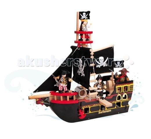 LeToyVan Пиратский корабль БарбароссаПиратский корабль БарбароссаLeToyVan Пиратский корабль Барбаросса.  Gold Award Winner - золотой диплом в номинации Лучшая игрушка. Корабль пиратов Барбаросса, производства английской компании Le Toy Van.  Если Вы хотите доставить радость Вашему малышу – вручите ему легендарный пиратский корабль Барбаросса, купить который Вы сможете в интернет-магазине КуклаДом. Каждый мальчишка мечтает окунуться в мир приключений и почувствовать себя смелым пиратом, бороздящим опасные просторы Карибского моря. Играя в сюжетные игры и создавая свой увлекательный мир, ребенок пробуждает у себя творческое мышление и фантазию. Деревянная сборная модель корабля Барбаросса поможет развитию у малыша мелкой моторики рук, логики, внимательности, умения сопоставлять и размышлять.  Яркие цвета, высококачественная обработка деталей, глянцевая поверхность игрушек, высокие стандарты безопасности и качества. В набор входят: две большие мачты с тканевыми парусами пушка, стреляющая ядрами воронье гнездо открывающаяся корма опускающийся якорь оснащение веревочные лестницы красивая подарочная упаковка. Фигурки пиратов в комплект не входят.<br>