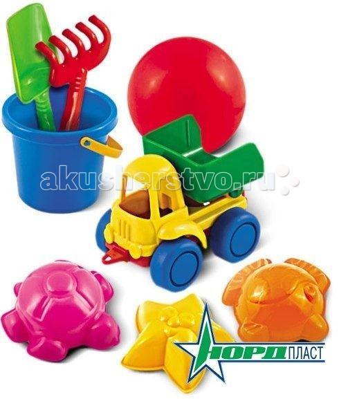 Нордпласт Набор для песка №58Набор для песка №58Набор для песка №58  В наборе 3 формочки, машинка, ведро, мячик, грабельки и совочек.  Все предметы набора имеют гладкую поверхность, ими приятно и безопасно играть.   Игры в песке способствуют развитию мелкой моторики и фантазии ребенка.   Изготовлено из высококачественной пластмассы.<br>