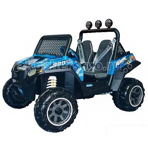 Электромобиль Peg-perego Polaris Ranger RZR 900 Blue OD0084Polaris Ranger RZR 900 Blue OD0084Polaris Ranger RZR 900 Blue OD0084  Двухместный детский электромобиль, предназначенный для езды как по ровным поверхностям, так и по бездорожью.  Этот четырёхколёсный электромобиль от итальянского бренда Peg-Perego является уменьшенной копией известного ATV Polaris. Электромобиль Polaris Ranger RZR 900 оснащён 12-вольтовым аккумулятором, достаточным для питания двух электродвигателей (200 Ватт каждый).   Мощности двигателей достаточно для преодоления подъёма уклоном до 17% и езды по пересечённой местности, легко преодолевая ямки, неровности и корни деревьев. Коробка передач трёхступенчатая: 2 передние и 1 задняя.  Автомобиль оборудован двумя сиденьями, установленными параллельно, оснащёнными ремнями безопасности.  Грузоподъёмность электромобиля достигает 60 кг.  Аккумулятор и зарядное устройство входят в комплект.  Электромобиль предназначен для детей в возрасте от 3-х лет Два удобных сиденья, оснащённых ремнями безопасности Два ведущих колеса Два двигателя общей мощностью 400 Ватт Максимальная скорость движения 6,5 км/ч Трёхступенчатая коробка передач: 2 вперёд (I — до 3,2 км/ч, II — до 6,5 км/ч) + реверс (до 3 км/ч)  Время непрерывной работы аккумулятора при максимальной нагрузке: 37 минут.  Габариты электромобиля: 90 х 127 х 88 см  Вес: 33 кг<br>