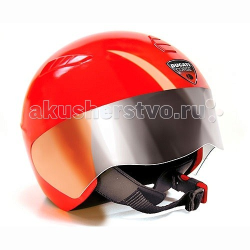 Peg-perego Шлем Ducati красный CS0703/CS0707Шлем Ducati красный CS0703/CS0707Шлем Ducati красный CS0703/CS0707  Компания Peg-Perego всегда заботится о безопасности вашего ребёнка.  Вместе с новой серией электромотоциклов и трициклов Ducati компания выпустила и новый аксессуар — шлем Ducati helmet.  Защитный шлем оснащён прозрачным забралом из пластика, которое прекрасно защищает глаза вашего ребёнка от пыли и грязи. А удобный, регулируемый ремешок подойдёт для головы любого размера. Также шлем оснащён специальной застёжкой, рассчитанной на автоматическое расстёгивание в случае угрозы удушения.  Шлем изготовлен из высококачественного пластика красного цвета, приятного на ощупь с мягкой подкладкой внутри.  Просим обратить внимание, что шлем сертифицирован как защитное оборудование для игр и не может быть использован в качестве защитной экипировки при езде на настоящих транспортных средствах.<br>