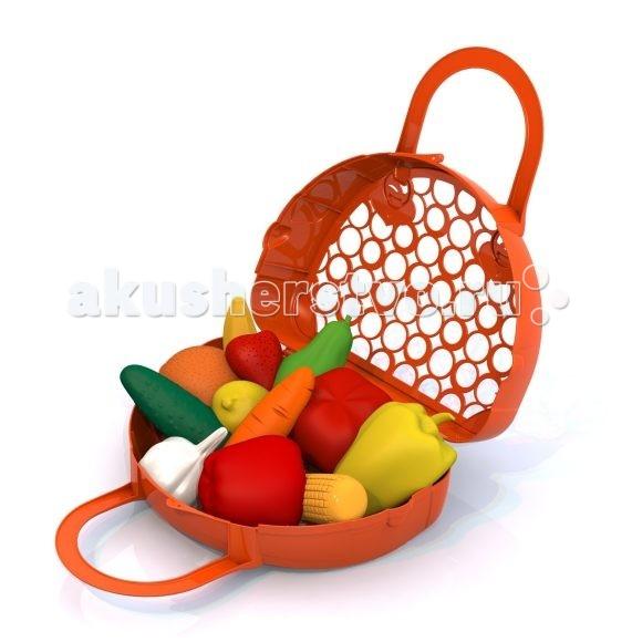 Нордпласт Набор 12 предметов в корзинкеНабор 12 предметов в корзинкеНабор продуктов в сумочке-корзине 440/06501.  Набор Фрукты, овощи состоит из 12 муляжей фруктов и овощей.   Теперь ваша маленькая помощница может накормить всех своих любимых куколок. Игра помогает развивать воображение. После игры все предметы можно сложить в сумочку-корзинку.  Набор выполнен из высококачественной пластмассы, яркой расцветки, оригинального дизайна.<br>