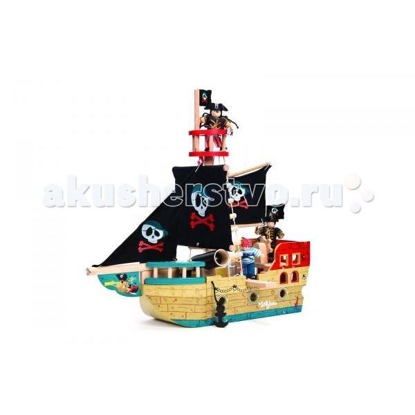 LeToyVan Пиратский корабль Веселый СэйлорПиратский корабль Веселый СэйлорLeToyVan Пиратский корабль Веселый Сэйлор.  Если Вы хотите доставить радость Вашему малышу – подарите ему легендарный пиратский корабль Веселый Сейлор, купить который Вы сможете в интернет-магазине КуклаДом. Каждый мальчишка мечтает окунуться в мир приключений и почувствовать себя смелым пиратом, бороздящим опасные просторы Карибского моря. Играя в сюжетные игры и создавая свой увлекательный мир, ребенок пробуждает у себя творческое мышление и фантазию. Деревянная сборная модель корабля Веселый Сейлор поможет развитию у малыша мелкой моторики рук, логики, внимательности, умения сопоставлять и размышлять.  Яркие цвета, высококачественная обработка деталей, глянцевая поверхность игрушек, высокие стандарты безопасности и качества.  В набор входят: две большие мачты с тканевыми парусами пушка, стреляющая ядрами воронье гнездо открывающаяся корма опускающийся якорь оснащение веревочные лестницы красивая подарочная упаковка.<br>