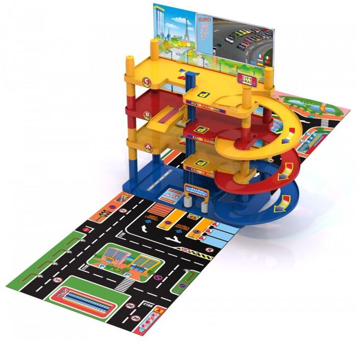 Нордпласт Гараж Городской паркингГараж Городской паркингГараж Городской паркинг - прекрасная игрушка для маленьких автолюбителей. Можно выполнять крутые спуски по эстакаде. Четырехэтажная парковка дает возможность малышу привести в порядок свой автопарк.  Есть автомойка - крутятся валики, когда сквозь них проезжает авто; заправочная станция, шлагбаум (механическое управление). Есть лифт (механическое управление) для подъема автомобилей на нужный этаж. Также предусмотрены спиралевидные спусковые дорожки.  Дорога, различные строения, деревья – все изображено на картонном полотне.  Ваш ребенок сможет часами играть с этим набором, придумывая разные истории, и с блеском преодолевая препятствия. Порадуйте его таким замечательным подарком!  Комплектность: Детали для сборки гаража. Мойка – 1 шт. Скаты. Заправка – 1 шт. Игровое поле в виде дорог. Иллюстрации на картоне. Наклейки. Инструкция – 1 шт.  Высота гаража – 38 см. Размеры собранной конструкции – 34х18 см.<br>