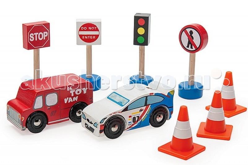 LeToyVan Набор Дорожные знаки с машинкамиНабор Дорожные знаки с машинкамиLeToyVan Набор Набор Дорожные знаки с машинками.  В набор входят 2 ярких автомобиля, 4 дорожных знака и 3 сигнальных конуса. Машинки сделаны из дерева и упакованы в подарочную коробку.Развивающий набор прекрасно подходит для игры с детскими парковками или гаражами, а также на детском игровом коврике Автодорога, Город и Аэропорт. Все машинки упакованы в фирменную коробку производителя с яркими картинками и надписями.  Набор Дорожные знаки с машинками: бело-голубой гоночный автомобиль красный автомобиль технической службы светофор знак остановки знак проезд запрещен знак движение пешеходов запрещено три дорожных сигнальных конуса традиционной расцветки - оранжевые с белой полосой.<br>