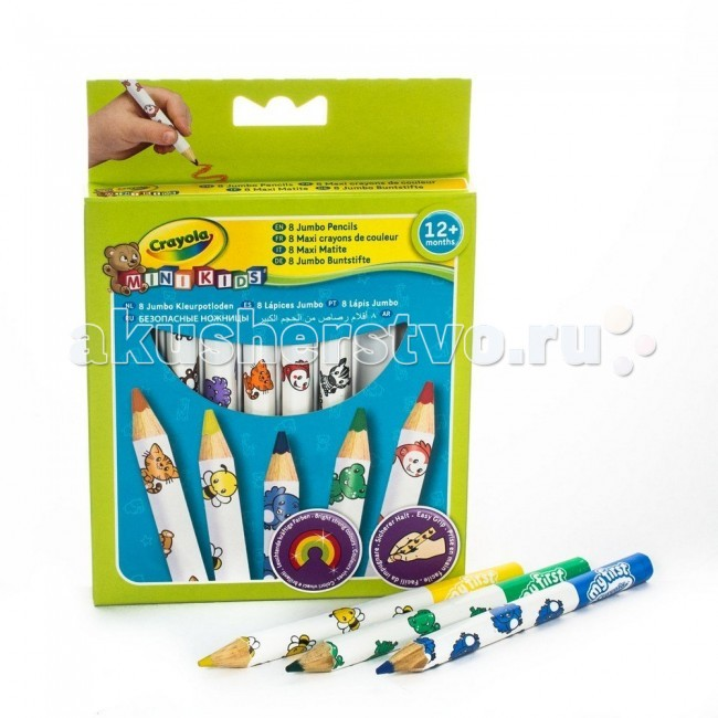 Crayola толстые восковые для малышей 8 шт.толстые восковые для малышей 8 шт.Карандаши Crayola 8 толстых восковых для малышей - малышам сложно и не всегда интересно рисовать тонкими карандашами – это долго и неудобно, к тому же карандаш так и норовит выпасть из маленькой ручки.   Набор разработан специально для самых юных художников – карандаши рисуют мягко, легко, и созданные ребенком шедевры долго не теряют цвет и яркость. Кроме того, этот набор безопасен для ребенка – за счет толщины малыш наверняка не проглотит карандаш и не засунет его себе случайно в нос или в ухо; к тому же все использованные в производстве красители не вызывают раздражений на коже.<br>