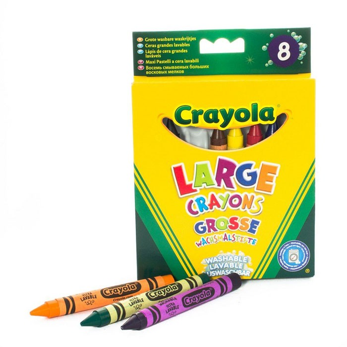 Crayola Набор смываемые восковые 8 шт.Набор смываемые восковые 8 шт.Мелки Crayola Набор из 8 больших смываемых восковых мелков - смываемые восковые мелки Crayola 8 классических цветов разработаны специально для детей в возрасте от 1 года. Они относятся к типу Large – такие мелки более широкие чем пастель для старших детей, их сложнее переломить.   Ширина одного мелка – 1,5 см, длина – 10 см.   Мелки Crayola изготавливаются из натуральных компонентов и имеют двойную бумажную обертку, благодаря которой при рисовании сложнее испачкаться. Однако, если это все-таки произошло, достаточно смыть мелки с рук и одежды теплой водой и мылой, они не оставят разводов.   Мелки отлично ложатся на бумагу, не оставляют незакрашенных участков и полос даже при смешивании цветов. Они не осыпаются при рисовании.   В наборе смываемые мелки 8 цветов: красный, оранжевый, желтый, зеленый, синий, фиолетовый, коричневый и черный.<br>