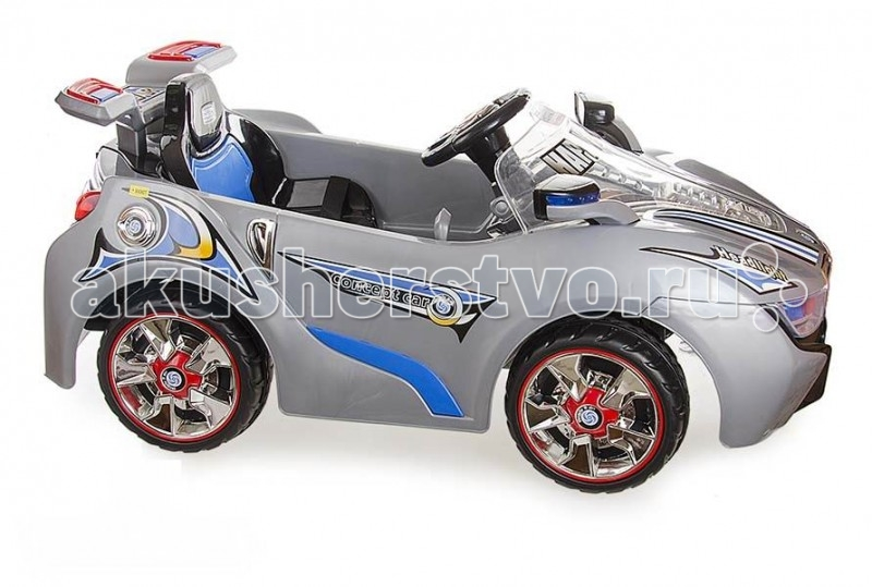 Электромобиль Rich Toys TR1206TR1206Мощный детский электромобиль TR1206. Обладает средней проходимостью при движении по ухабистым дорогам и преодолевает подъем до 10%. Управляя этим электромобилем, Ваш ребенок с самого раннего детства приобретет навыки уверенного вождения. Ведь это фактически настоящий автомобиль, только маленький и безопасный. Электромобиль оснащен двумя перезаряжаемыми аккумуляторными батареями по 6V/7АН.  Характеристики: возраст от 3 до 8 лет напряжение - 12 вольт музыкальное и световое сопровождение возможность подачи звукового сигнала ремень безопасности пульт радиоуправления два направления движения: вперед, назад многофункциональный руль зеркала заднего вида максимальный вес пользователя – 40 кг пластиковые колеса с резиновыми вставками по середине две скорости вперед и одна назад два электродвигателя открывающиеся двери, открывающийся капот максимальная скорость до 7 км/ч ресурс аккумулятора до 300 перезарядок время работы на одном заряде - 2 часа зарядное устройство входит в комплект 220В/50Гц размеры электромобиля: 121 Х 71 X 49 см<br>