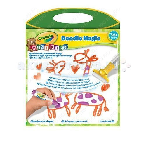 Crayola Doodle magic Дорожный набор для рисованияDoodle magic Дорожный набор для рисованияCrayola Doodle magic Дорожный набор для рисования - всегда удобно брать с собой. Он имеет удобные для переноски размеры, но при этом включает все необходимое для рисования.   Уникальность маркеров Doodle Magic в том, что рисунки, сделанные с их помощью, можно удалить с любой поверхности обычной водой. Даже с одежды. А тряпочка и губка, которые тоже входят в набор, заметно облегчат эту задачу. В коробке с набором вы найдете 3 маркера Doodle Magic, а также полотно для рисования. Оно идеально подойдет для рисования и заменит обычную бумагу. Причем использовать эту поверхность можно бесконечное число раз.   Рекомендуется для детей от 3 лет.<br>