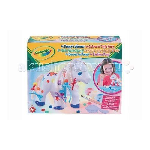 Crayola Фигурка пони для раскрашиванияФигурка пони для раскрашиванияCrayola Фигурка пони для раскрашивания - раскрасьте фигурку керамического пони вместе с этим набором от Crayola. В фирменной коробке вы найдете все, что нужно, чтобы почувствовать себя настоящим художником: самого пони, 5 красок (красная, желтая, синяя, зеленая, фиолетовая), кисточку из натурального ворса, ленту 4 различных цветов, комплект бусинок и расческу для гривы.  Краски Crayola не содержат токсичных элементов, не вызывают аллергических реакций при попадании на кожу ребенка, прекрасно смываются с детских рук, одежды и мебели с помощью теплой воды и мыла. Они равномерно ложатся на различные поверхности (включая, керамическую текстуру фигурки пони), имеют яркие насыщенные оттенки.   Раскрасив фигурку, займитесь прической пони: расчешите ему гриву, заплетите косички с ленточками и разноцветными бусинами.  Этот набор предназначен для девочек старше 4 лет.<br>