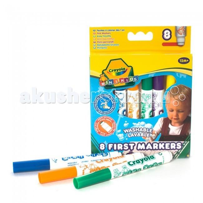 Фломастеры Crayola цветные смывающиеся для малышейцветные смывающиеся для малышейФломастеры Crayola цветные смывающиеся для малышей - могут рисовать даже совсем юные художники. Этот набор разработан для детей в возрасте от 1 года.   Широкий фломастер легко захватывать и комфортно удерживать малышу. А плоский наконечник не только не ломается и не вытаскивается из корпуса, но еще и позволяет обеспечить идеально равномерное распределение цвета при любом наклоне фломастера.   Чернила, которые используются в этих фломастерах, легко смываются с детской кожи и одежды. Если малыш изрисовал ткань, просто замочите ее в порошке и отправьте в стирку, руки достаточно вымыть с мылом (краска легко оттирается), а с мебели и игрушек можно удалить нарисованное с помощью влажной салфетки.   Специальные гипоаллергенные красители безопасны для самых маленьких. Кроме того, фломастеры не засыхают даже будучи оставленными на длительное время.   В наборе 6 фломастеров ярких цветов.<br>