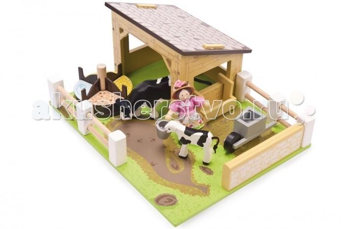 LeToyVan Игровой набор Коровник с коровами и фермершей