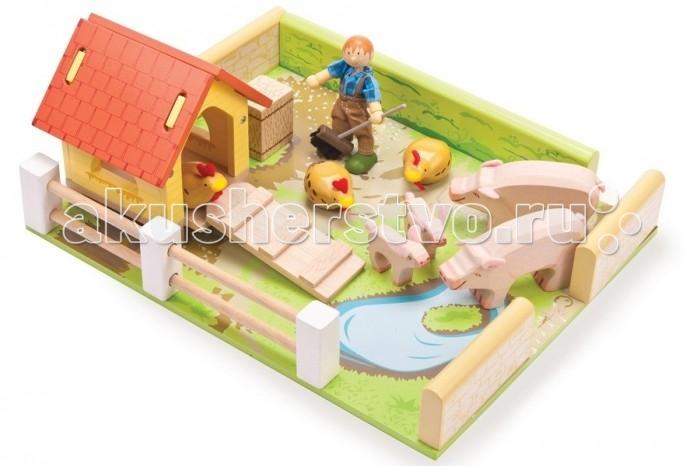 LeToyVan Игровой набор Сарай с животными и уборщиком