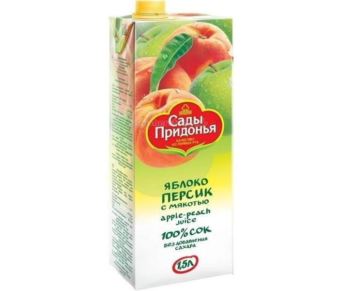 Сады Придонья Сок Яблоко и персик с мякотью с 3 лет 1.5 л