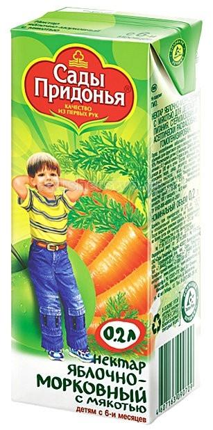 Сады Придонья Нектар Яблоко и морковь с мякотью с 6 мес. 200 мл