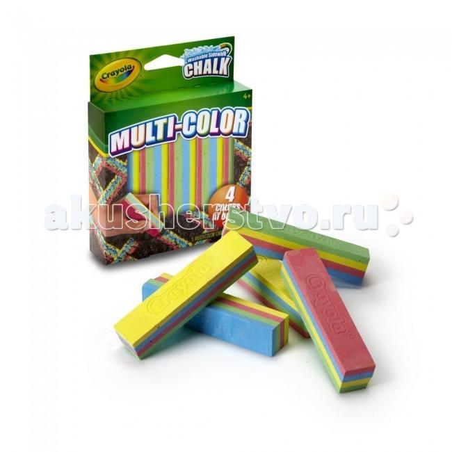 Мелки Crayola Многоцветный для асфальта 5 цветовМногоцветный для асфальта 5 цветовМелки Crayola Многоцветный для асфальта 5 цветов - создавай уникальные шедевры прямо на асфальте с новыми мелками Crayola!   Эксклюзивные мелки Crayola сочетают сразу 4 цвета в одном кусочке. Рисуй одновременно зелёным, жёлтым, синим и розовым цветом! Качественными мелками легко создать яркий неповторимый рисунок. В коробке 5 четырёхцветных прочных мелков высокого качества. Они не расколются и не поломаются при случайном падении или от сильного нажима.   Мелки для асфальта Crayola разработаны для детей от 4 лет. Создавая новые картины на асфальте, ребёнок развивает свои творческие навыки и воображение. Нарисуй радугу одним движением руки!<br>